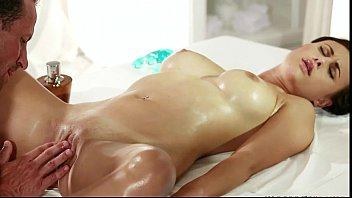 Erotic breast massage videos - Oiled brunette fucked by masseur