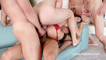 Interracial gangbang sluts Belle Claire and Francys Belle's assholes gaped