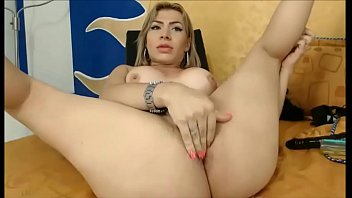 BLonde She Doll  masturbates to orgasm  orgasm