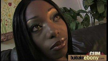Ebony Cum Slut Hottie Bukkake Party 13