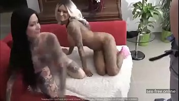 Two Naughty Tattooed Bitches Sharing One Lucky Dude
