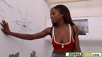 Horny Black Babe Fucked In The White Boys' Gloryhole Booth - Kinsley Karter