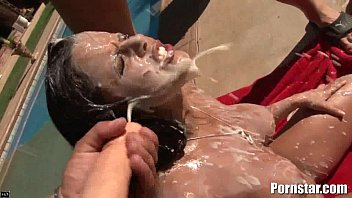 Raunchy facials Diamond kitty getting some maximum bukakke facial