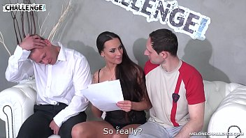 Two amateurs try double anal penetration with pornstar Mea Melone in her show