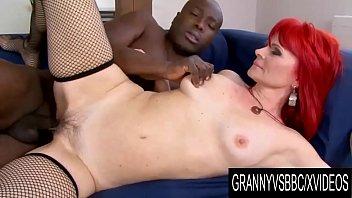 Granny Vs BBC - Black Guy Helps Bushy Redhead Amanda Rose Sate Her Desires