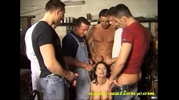 Hot Milf Gangbanged in workshop