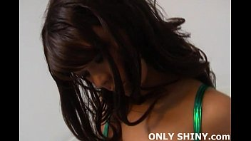 Rubbing my pussy in tight green PVC panties