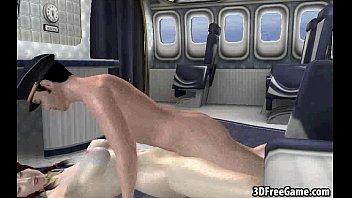 Pale 3D cartoon stewardess getting fucked hard