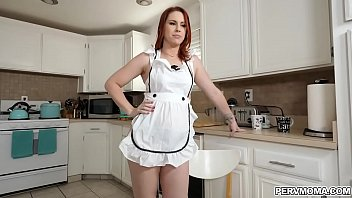 Redhead MILF Edyn Blairis busy cooking in the kitchen while wearing sexy undies that makes her stepson horny and started  fucking her MILF pussy. thumbnail
