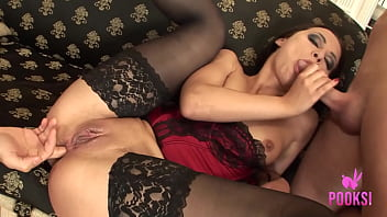 Hot Brunette In A Corset Valeria Gets All The Cum Out Of TWO Dicks!