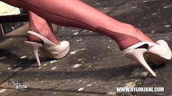 Milf teases in nylons suspenders heels