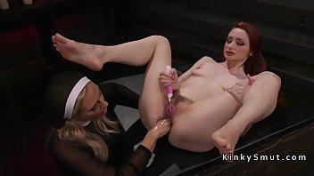 Blonde nun bangs lesbian with strap anal butt strapon