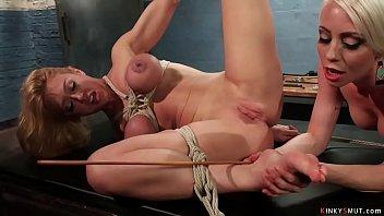 Bound big tits lesbian anal fucked