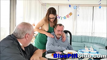 Cute Teen Slut Fucks Old Man For His Birthday Surprise