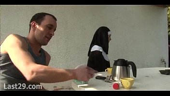 Old and young double team a nun