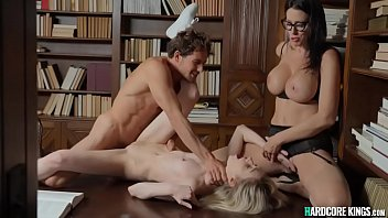 Students couple sex with MILF librarian