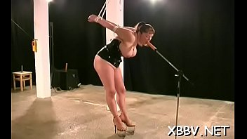 Fastened up woman breast fetish torture scenes in bdsm xxx