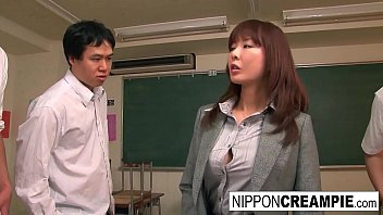 Nude japan class - Beautiful japanese babe is gangbanged in the classroom