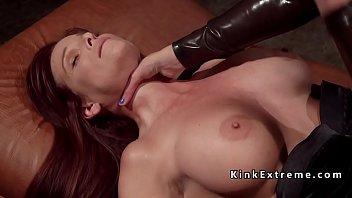 Latex dominatrix paddles busty slave