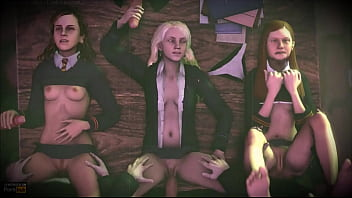 Group sex at Hogwarts from the world of Harry Potter: Ginny Weasley, Luna Lovegood, Hermione Granger - porn-chat.space