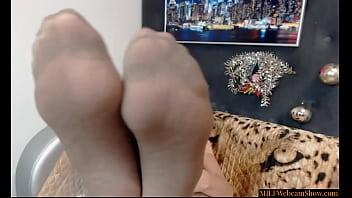 Horny GILF Teasing With Her Feet