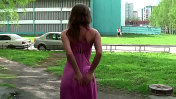 Bold and beautiful girls flashing in the centre of the city