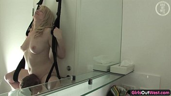 Fisting sling rubber cube - Cock hungry aussie blonde fucked in a sling