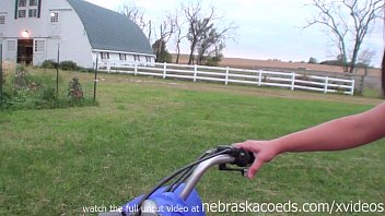 perfect teen real life farmers daughter riding atv naked on iowa farm