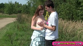 Busty teenage girl - Busty pale teenager fucked outdoors