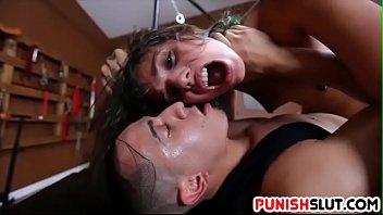 Dirty slut latina Gina Valentina manhandled hard in dungeon