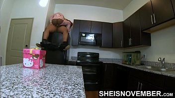 Unique sexual Teaching my stepkid how to straddle daddy cock ontop of the refrigerator, stretching her tiny black pussy hole apart, with ebony step daughter msnovember butt flap open for easy penetration, unique rough family sex inside kitchen on sheisnovmber