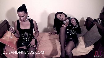 Two hot shemales mistress in latex using her slave
