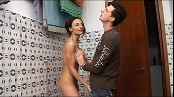 Fat naked mom - Horny geek boy spies her naked mom in the shower