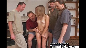 Tiny Teen Slut Bukkake Gang Bang!
