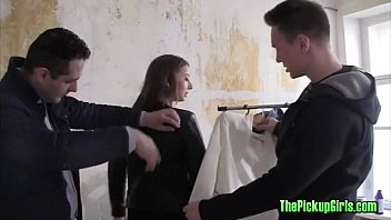 Russian tries clothes before fucked two men
