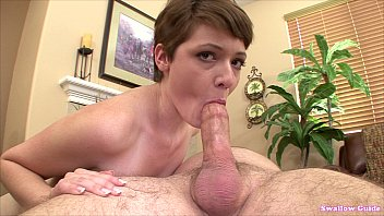 Hormonal facial hair Emma snow quenches her thirst for cum