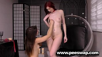 Kinky lesbian pee action with Kattie Gold