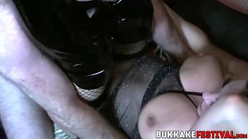 Super hot ebony sharing cocks with her bukkake besties