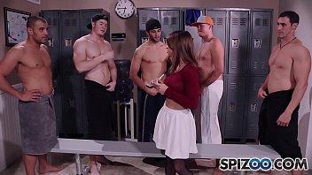 Spizoo - Teen Sara Luvv Takes On 5 Big Dicks In Her Throat, Blowbang