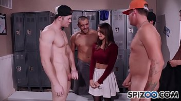 Spizoo - Teen Sara Luvv takes on 5 big dicks in her throat, BlowBang