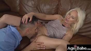 Szandi's bushy pussy got licked and   fingered by horny young man Mugur