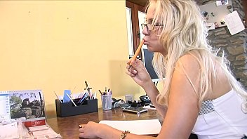 Horny secretary carla cox takes guys cock in her mouth and gives deep blowjob then fucks