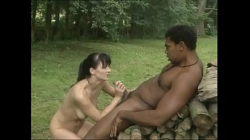 Black worker fucks his white mistress in the woods