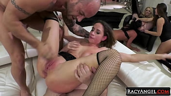 Busty Babe Malena Gets Double Anal Action From 2 Hard Cocked Dudes with Assistance of Kelly Stafford, Amirah Adara and Debora