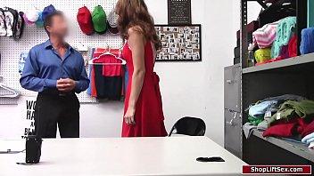 Brunette shoplifter fucked by officer