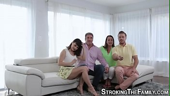 Teen stepsister gets jizzed face and mouth