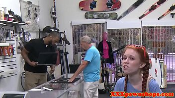 Redhead pawnshop girl cocksucking before sex