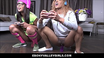 Black Teens Sizi Sev & Zoey Reyes Fuck White Guy While They Play Video Games