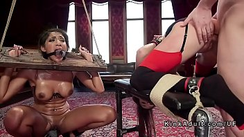 Hot slaved together punished in the upper floor