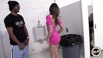Two guys with monster dicks fuck hungry whore in public toilet